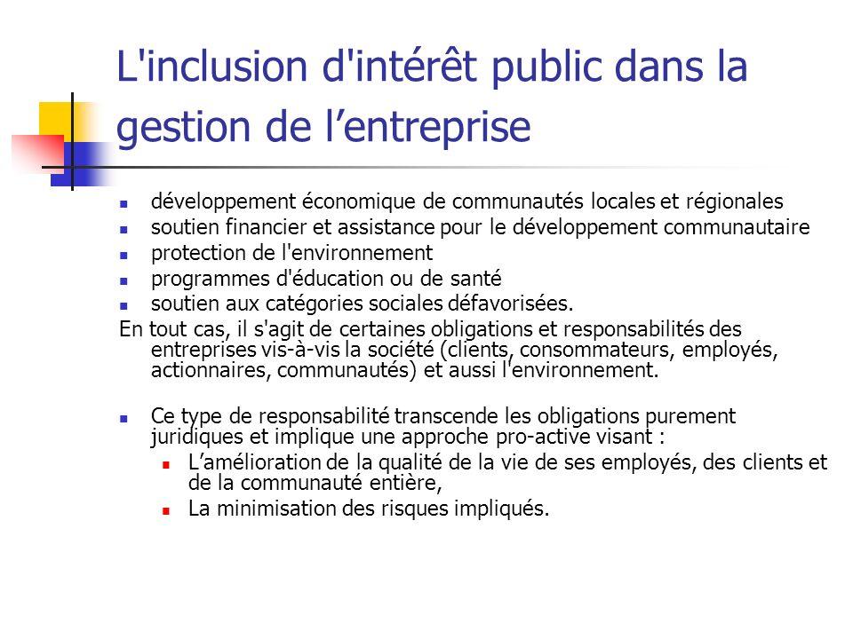 L'inclusion d'intérêt public dans la gestion de lentreprise développement économique de communautés locales et régionales soutien financier et assista