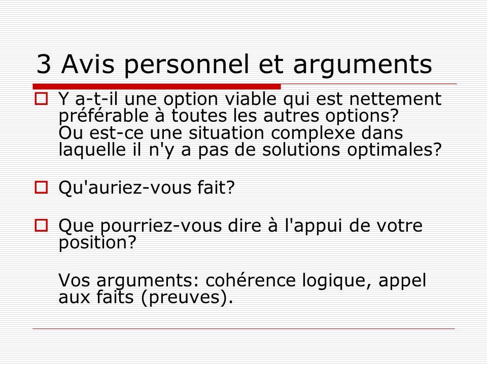 3 Avis personnel et arguments Y a-t-il une option viable qui est nettement préférable à toutes les autres options? Ou est-ce une situation complexe da