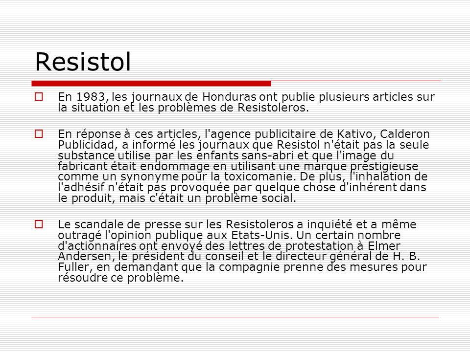 Resistol En 1983, les journaux de Honduras ont publie plusieurs articles sur la situation et les problèmes de Resistoleros. En réponse à ces articles,