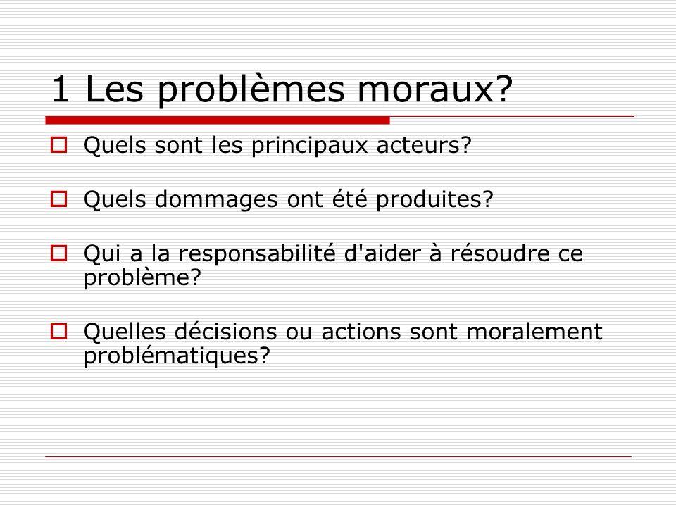 1 Les problèmes moraux? Quels sont les principaux acteurs? Quels dommages ont été produites? Qui a la responsabilité d'aider à résoudre ce problème? Q