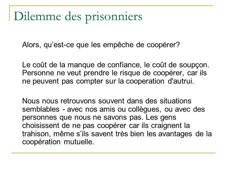 Dilemme des prisonniers Alors, quest-ce que les empêche de coopérer? Le coût de la manque de confiance, le coût de soupçon. Personne ne veut prendre l