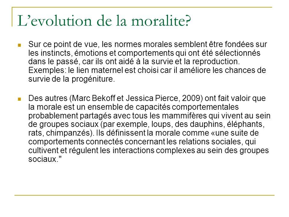 Levolution de la moralite.