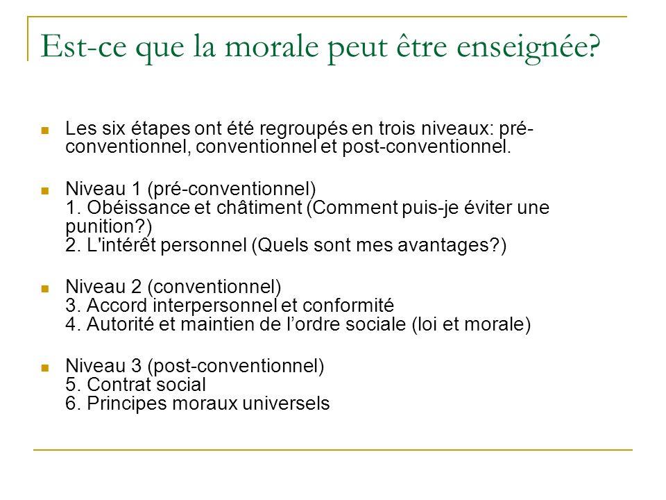 Est-ce que la morale peut être enseignée? Les six étapes ont été regroupés en trois niveaux: pré- conventionnel, conventionnel et post-conventionnel.