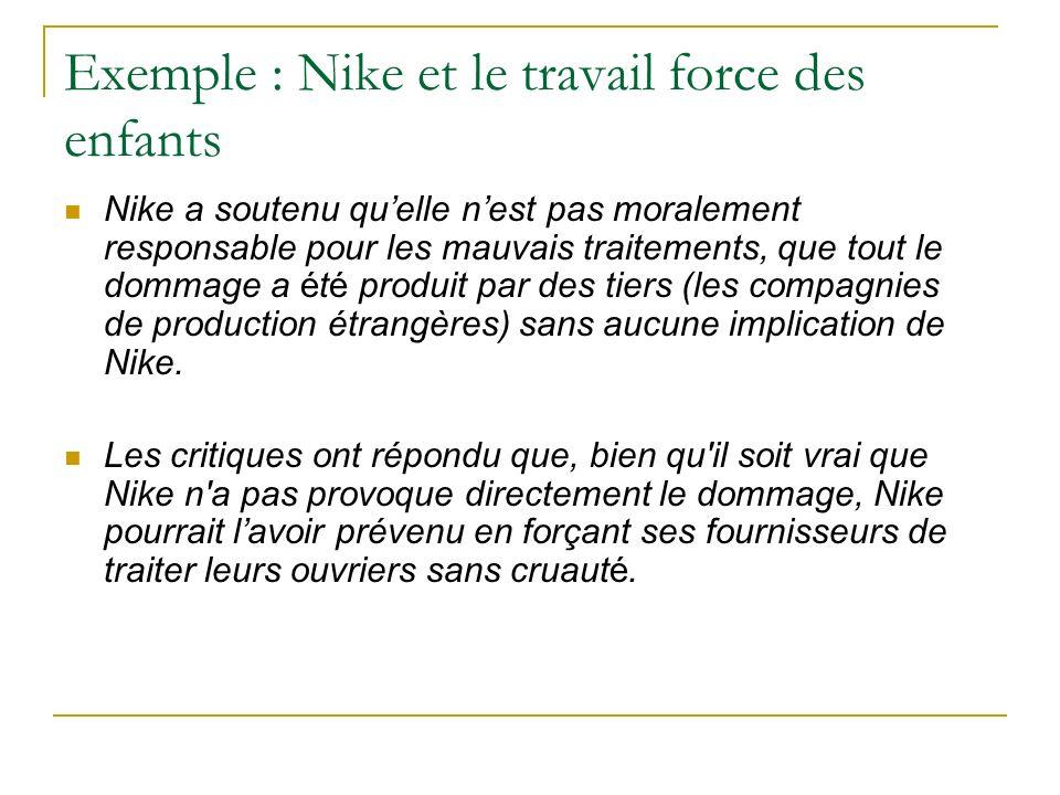 Exemple : Nike et le travail force des enfants Nike a soutenu quelle nest pas moralement responsable pour les mauvais traitements, que tout le dommage a été produit par des tiers (les compagnies de production étrangères) sans aucune implication de Nike.