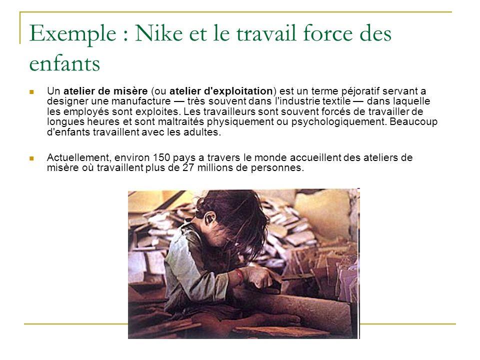 Exemple : Nike et le travail force des enfants Un atelier de misère (ou atelier d exploitation) est un terme péjoratif servant a designer une manufacture très souvent dans l industrie textile dans laquelle les employés sont exploites.