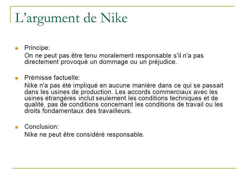 Largument de Nike Principe: On ne peut pas être tenu moralement responsable s'il n'a pas directement provoqué un dommage ou un préjudice. Prémisse fac