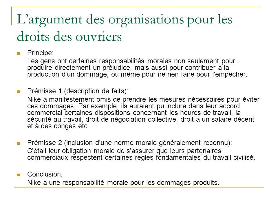 Largument des organisations pour les droits des ouvriers Principe: Les gens ont certaines responsabilités morales non seulement pour produire directem