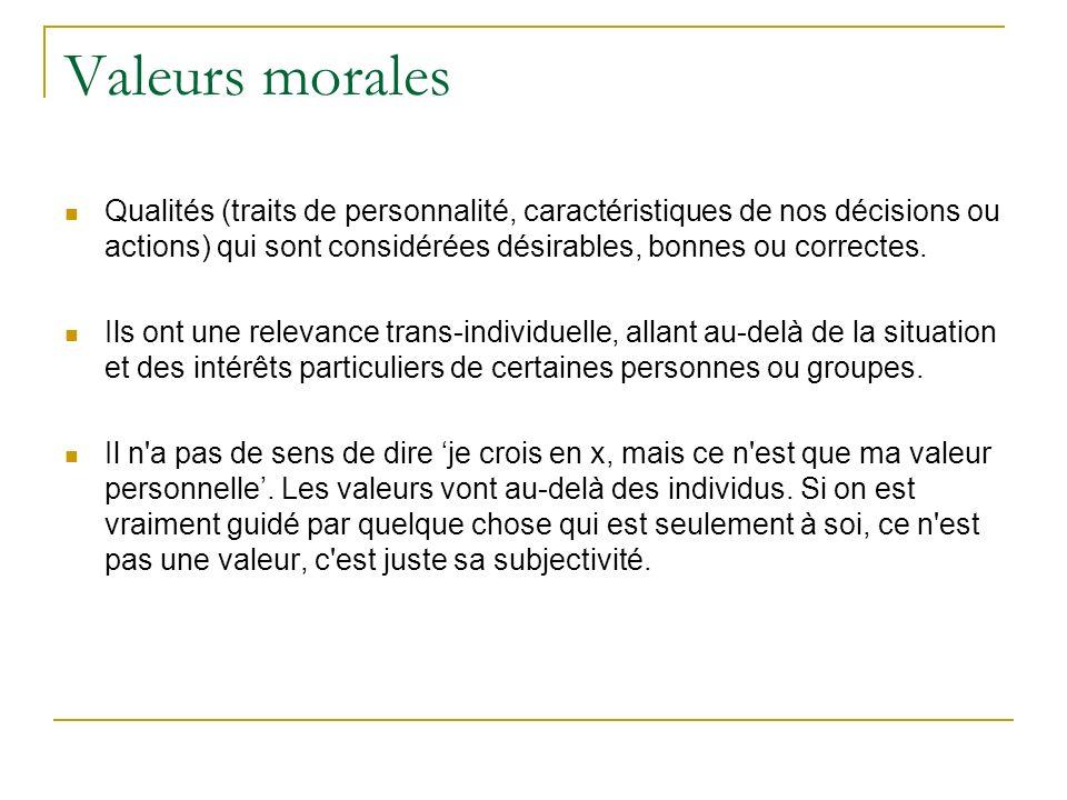 Valeurs morales Qualités (traits de personnalité, caractéristiques de nos décisions ou actions) qui sont considérées désirables, bonnes ou correctes.