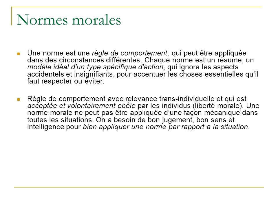 Normes morales Une norme est une règle de comportement, qui peut être appliquée dans des circonstances différentes.