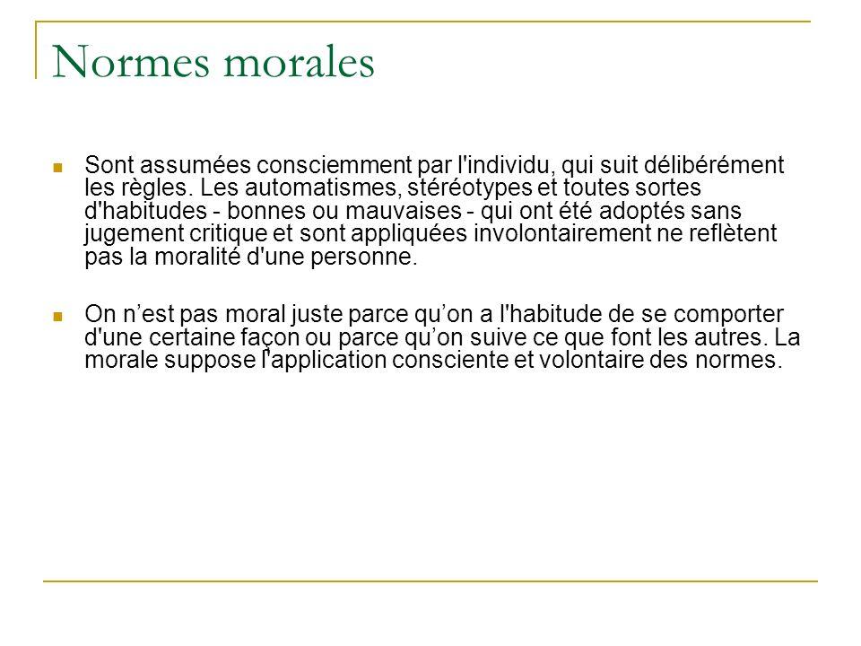 Normes morales Sont assumées consciemment par l'individu, qui suit délibérément les règles. Les automatismes, stéréotypes et toutes sortes d'habitudes