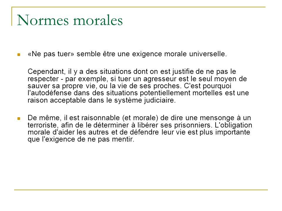 Normes morales «Ne pas tuer» semble être une exigence morale universelle. Cependant, il y a des situations dont on est justifie de ne pas le respecter