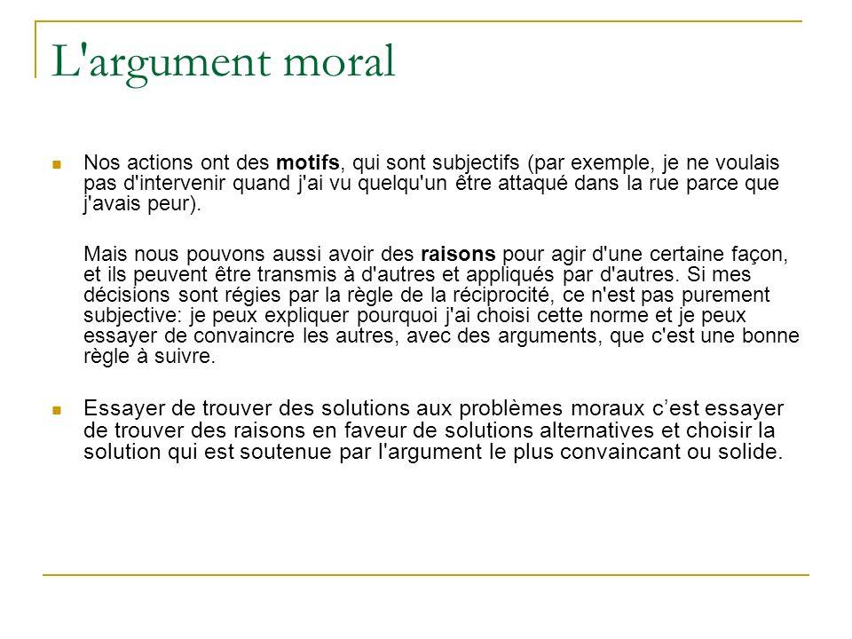 L'argument moral Nos actions ont des motifs, qui sont subjectifs (par exemple, je ne voulais pas d'intervenir quand j'ai vu quelqu'un être attaqué dan