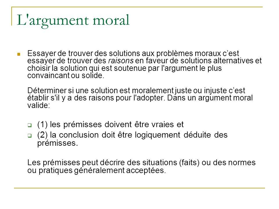 L argument moral Essayer de trouver des solutions aux problèmes moraux cest essayer de trouver des raisons en faveur de solutions alternatives et choisir la solution qui est soutenue par l argument le plus convaincant ou solide.