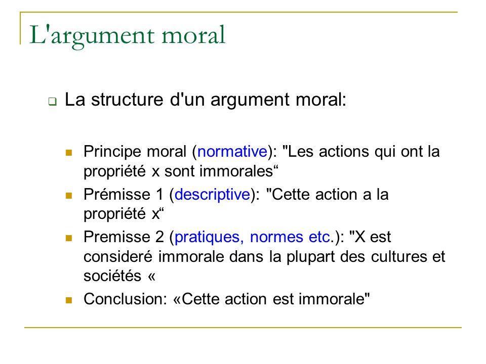 L argument moral La structure d un argument moral: Principe moral (normative): Les actions qui ont la propriété x sont immorales Prémisse 1 (descriptive): Cette action a la propriété x Premisse 2 (pratiques, normes etc.): X est consideré immorale dans la plupart des cultures et sociétés « Conclusion: «Cette action est immorale