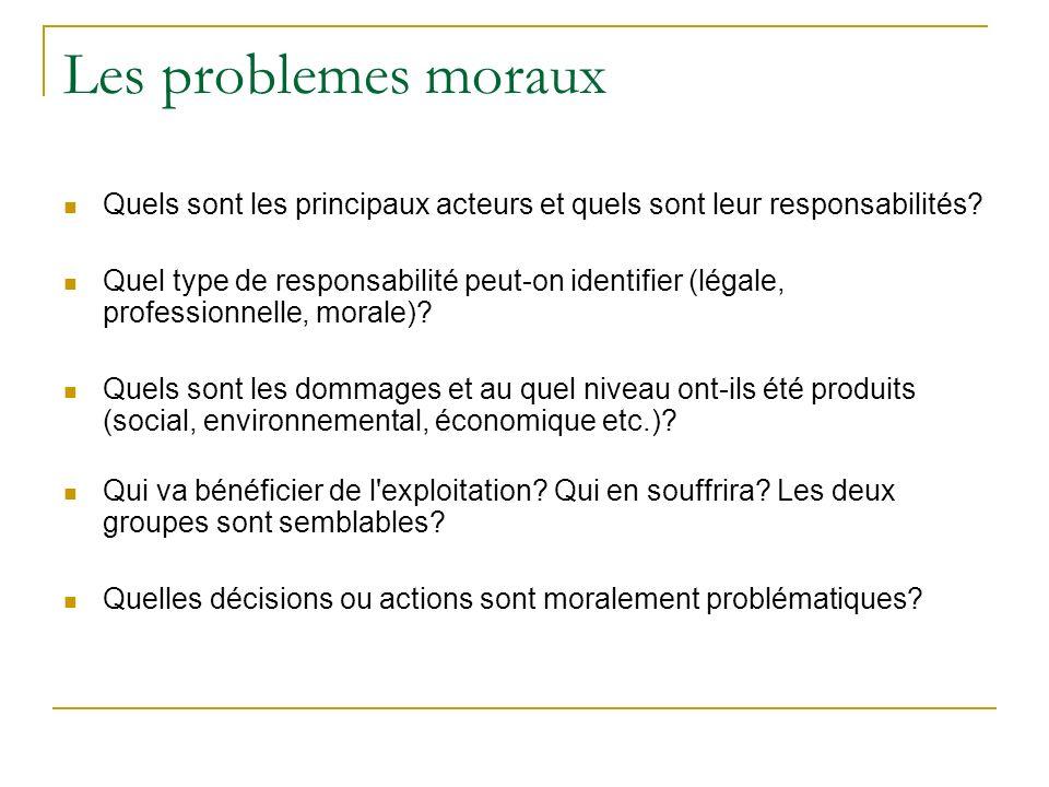 Les problemes moraux Quels sont les principaux acteurs et quels sont leur responsabilités? Quel type de responsabilité peut-on identifier (légale, pro