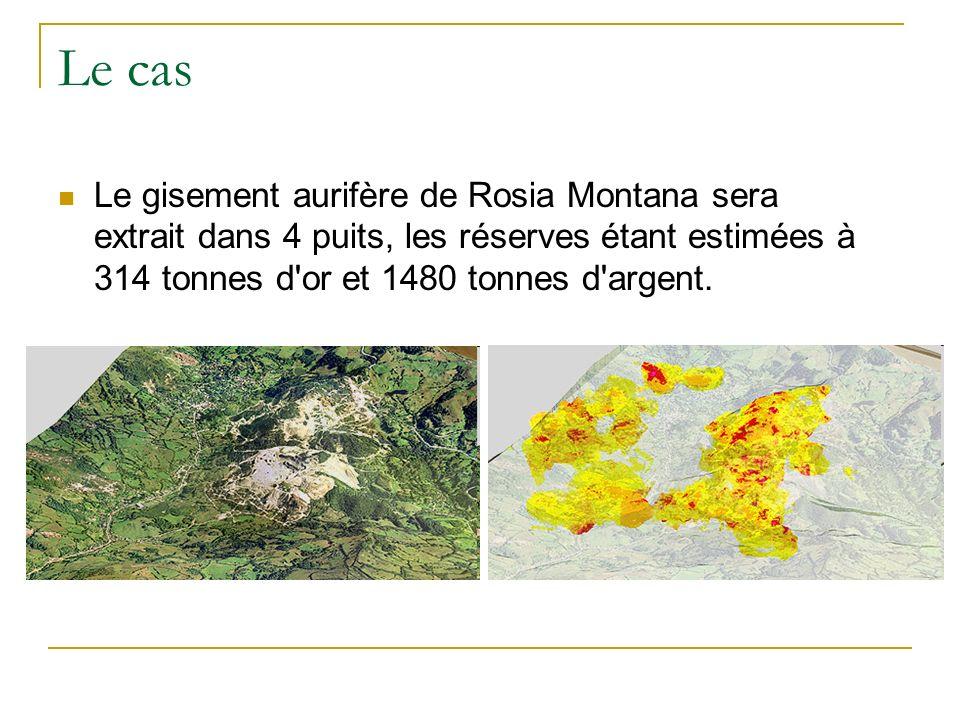 Le cas Le gisement aurifère de Rosia Montana sera extrait dans 4 puits, les réserves étant estimées à 314 tonnes d'or et 1480 tonnes d'argent.