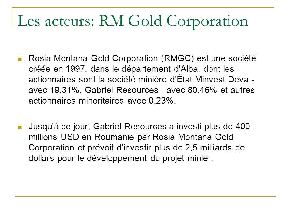 Les acteurs: RM Gold Corporation Rosia Montana Gold Corporation (RMGC) est une société créée en 1997, dans le département d Alba, dont les actionnaires sont la société minière d État Minvest Deva - avec 19,31%, Gabriel Resources - avec 80,46% et autres actionnaires minoritaires avec 0,23%.