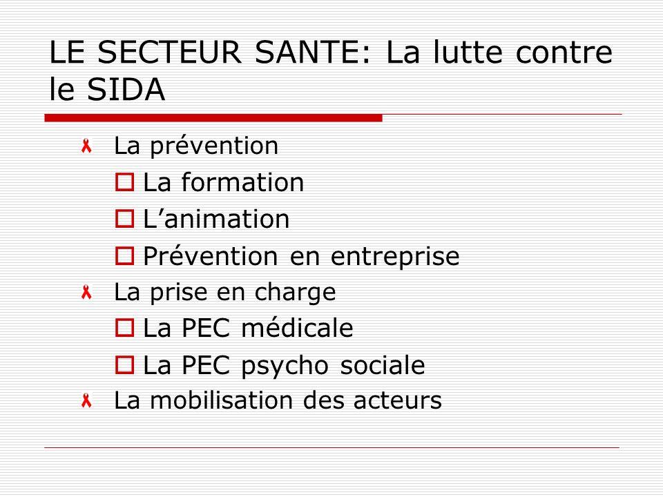 LE SECTEUR SANTE: La lutte contre le SIDA La prévention La formation Lanimation Prévention en entreprise La prise en charge La PEC médicale La PEC psycho sociale La mobilisation des acteurs