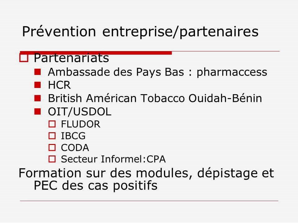 Prévention entreprise/partenaires Partenariats Ambassade des Pays Bas : pharmaccess HCR British Américan Tobacco Ouidah-Bénin OIT/USDOL FLUDOR IBCG CODA Secteur Informel:CPA Formation sur des modules, dépistage et PEC des cas positifs