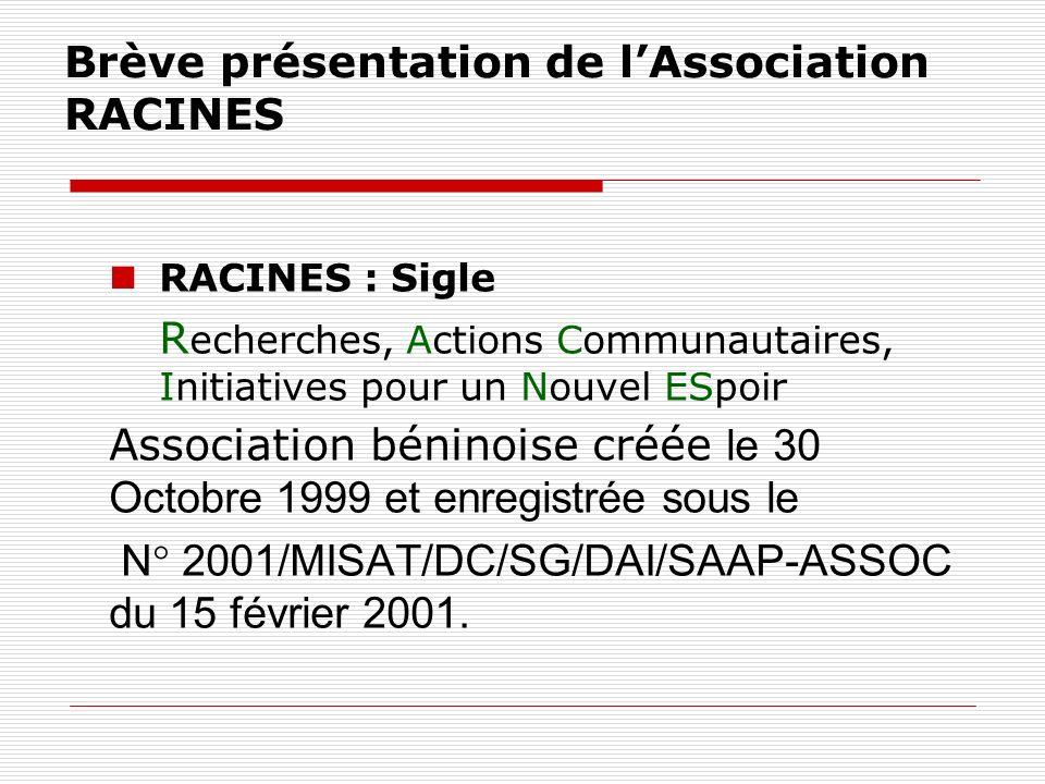 Brève présentation de lAssociation RACINES RACINES : Sigle R echerches, Actions Communautaires, Initiatives pour un Nouvel ESpoir Association béninoise créée le 30 Octobre 1999 et enregistrée sous le N° 2001/MISAT/DC/SG/DAI/SAAP-ASSOC du 15 février 2001.