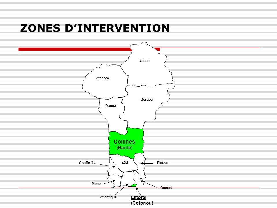 ZONES DINTERVENTION Atacora Alibori Donga Borgou Collines ( Bantè) Zou Couffo 3 Mono Plateau Ouémé Littoral (Cotonou) Atlantique