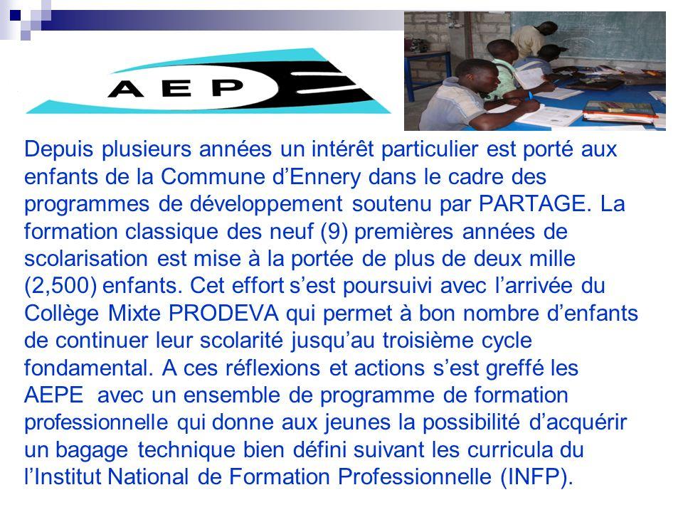 Depuis plusieurs années un intérêt particulier est porté aux enfants de la Commune dEnnery dans le cadre des programmes de développement soutenu par PARTAGE.