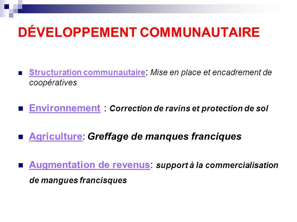 DÉVELOPPEMENT COMMUNAUTAIRE Structuration communautaire : Mise en place et encadrement de coopératives Environnement : Correction de ravins et protect