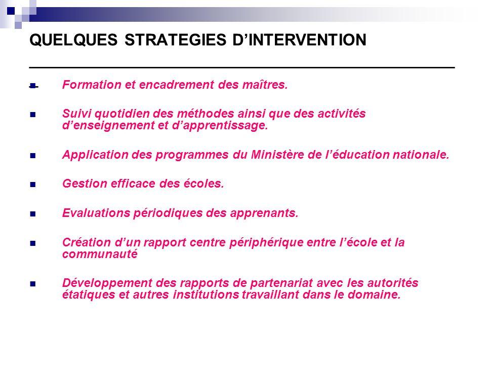 Actions entreprises : Distributions de matériels scolaires.