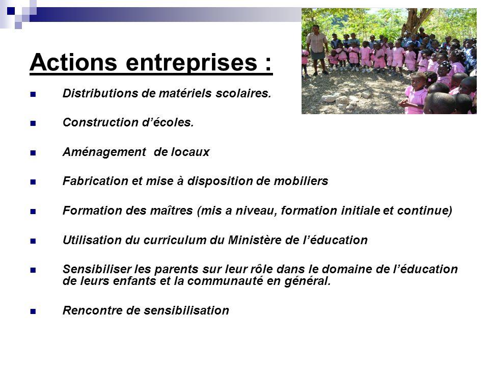 Actions entreprises : Distributions de matériels scolaires. Construction décoles. Aménagement de locaux Fabrication et mise à disposition de mobiliers
