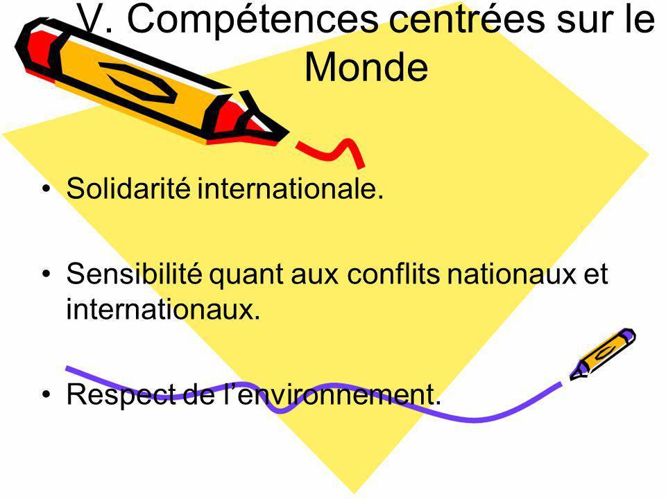 V.Compétences centrées sur le Monde Solidarité internationale.