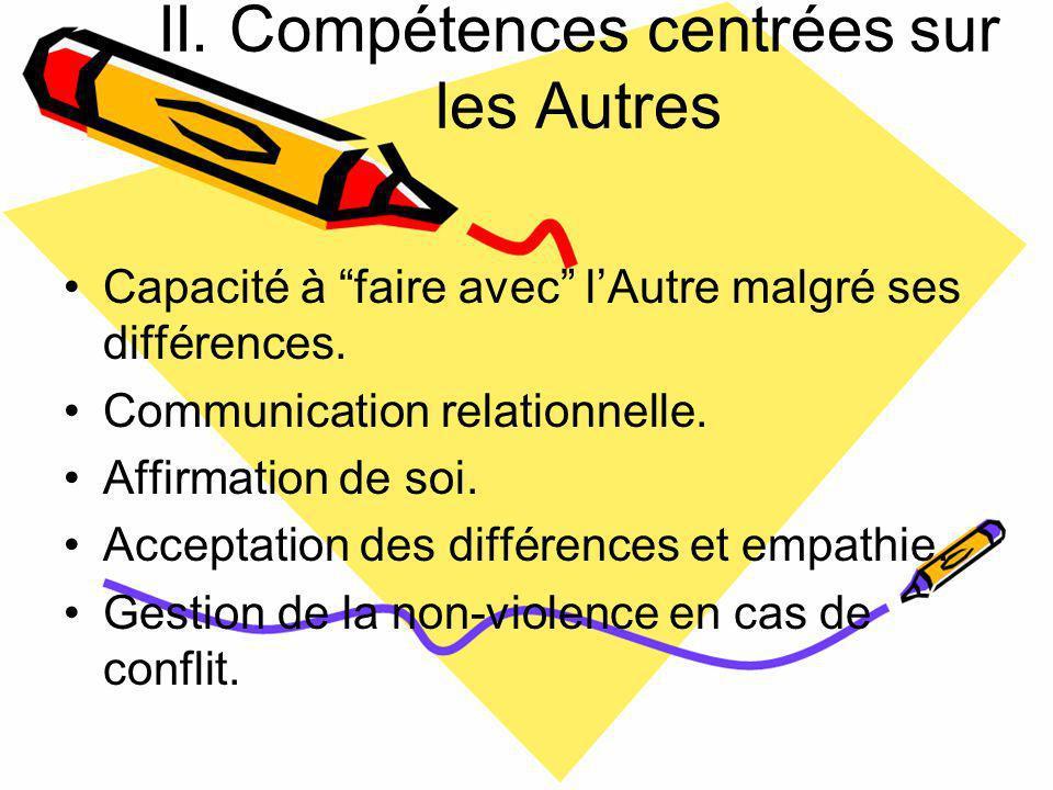 II.Compétences centrées sur les Autres Capacité à faire avec lAutre malgré ses différences.