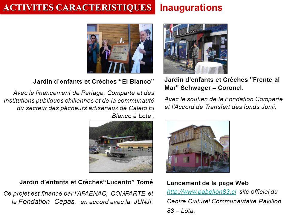ACTIVITES CARACTERISTIQUES Inaugurations Jardin denfants et CrèchesLucerito Tomé Ce projet est financé par lAFAENAC, COMPARTE et la Fondation Cepas, en accord avec la JUNJI.