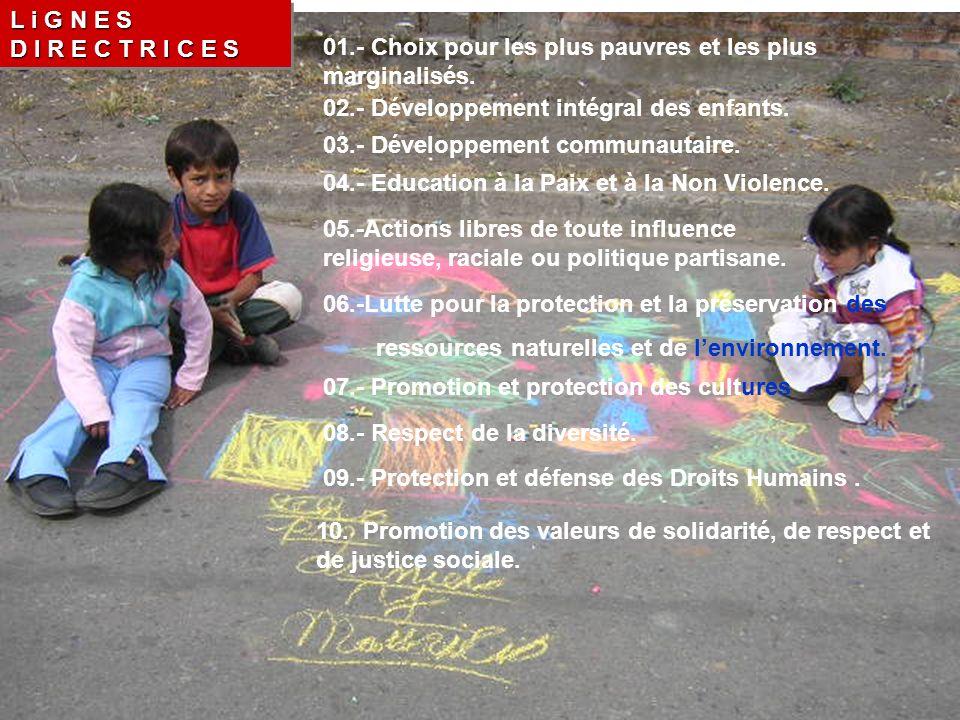 L i G N E S D I R E C T R I C E S 01.- Choix pour les plus pauvres et les plus marginalisés.