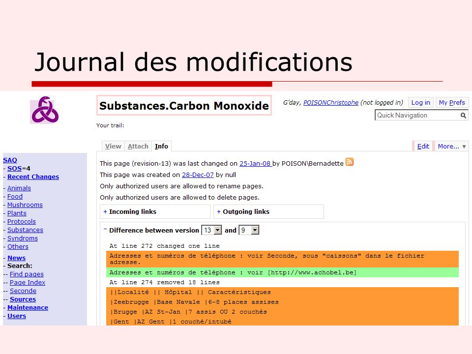 Journal des modifications
