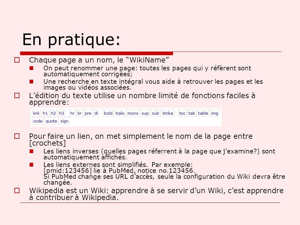 En pratique: Chaque page a un nom, le WikiName On peut renommer une page: toutes les pages qui y réfèrent sont automatiquement corrigées; Une recherche en texte intégral vous aide à retrouver les pages et les images ou vidéos associées.