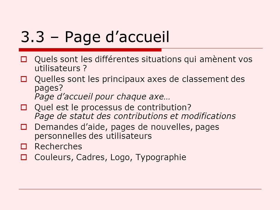 3.3 – Page daccueil Quels sont les différentes situations qui amènent vos utilisateurs .