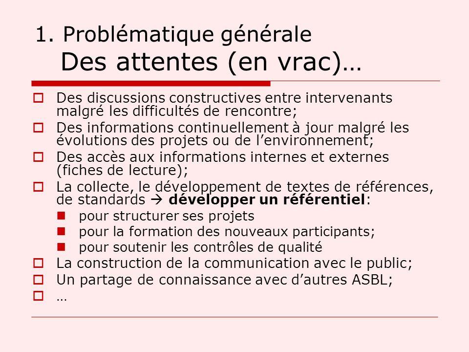 1. Problématique générale Des attentes (en vrac)… Des discussions constructives entre intervenants malgré les difficultés de rencontre; Des informatio