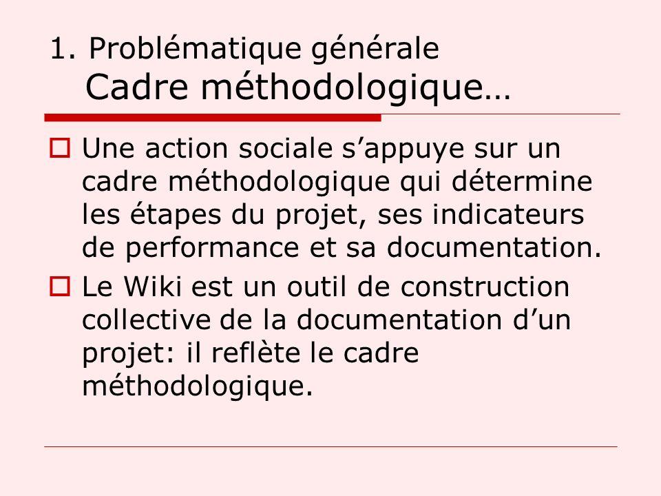 1. Problématique générale Cadre méthodologique… Une action sociale sappuye sur un cadre méthodologique qui détermine les étapes du projet, ses indicat