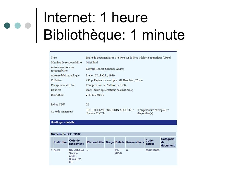 Internet: 1 heure Bibliothèque: 1 minute