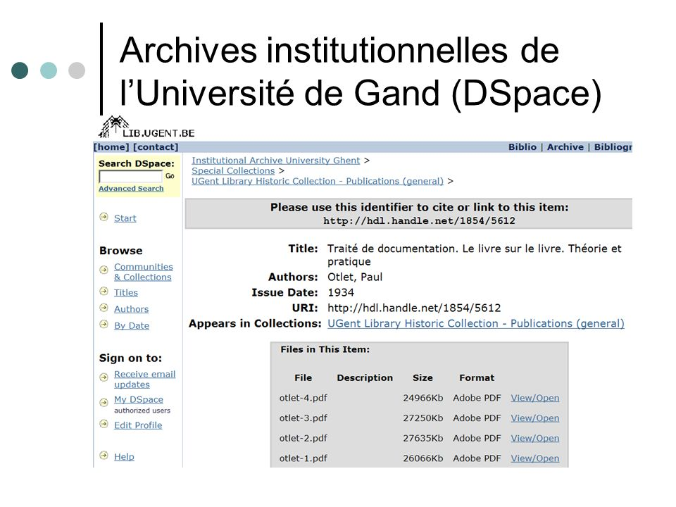 Archives institutionnelles de lUniversité de Gand (DSpace)