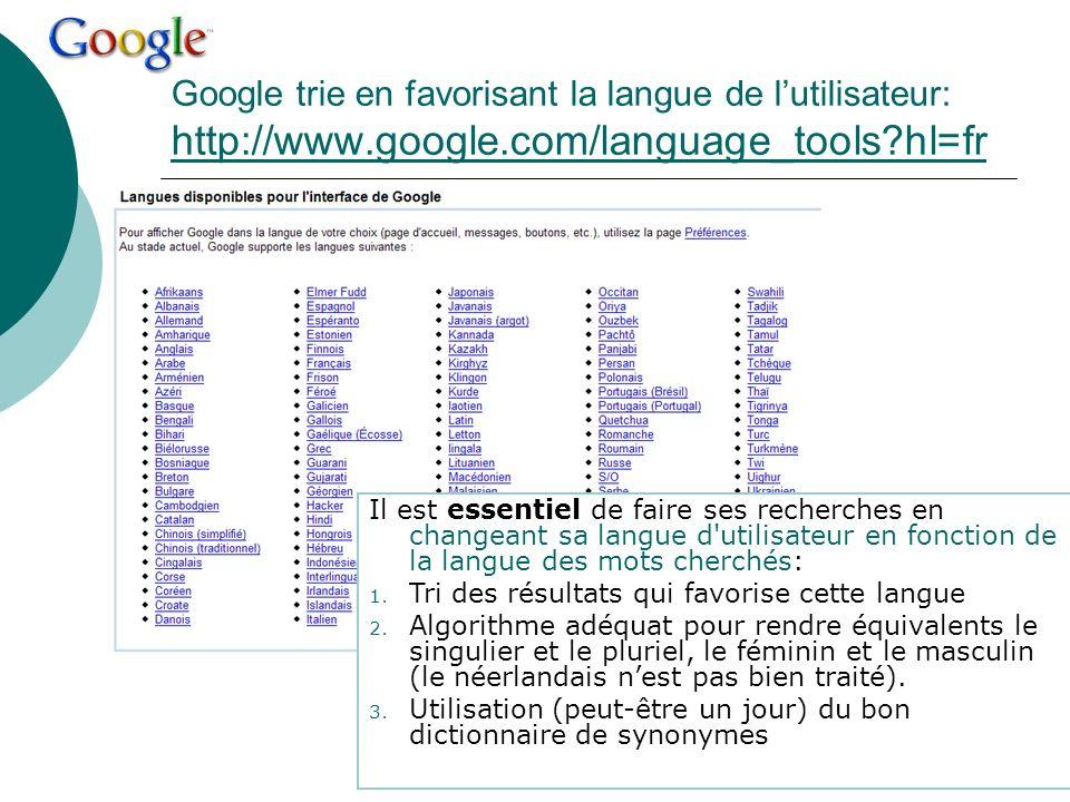 Google trie en favorisant la langue de lutilisateur: http://www.google.com/language_tools?hl=fr http://www.google.com/language_tools?hl=fr Il est esse