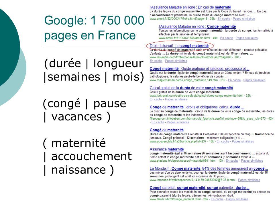 Google: 1 750 000 pages en France (durée | longueur |semaines | mois) (congé | pause | vacances ) ( maternité | accouchement | naissance )