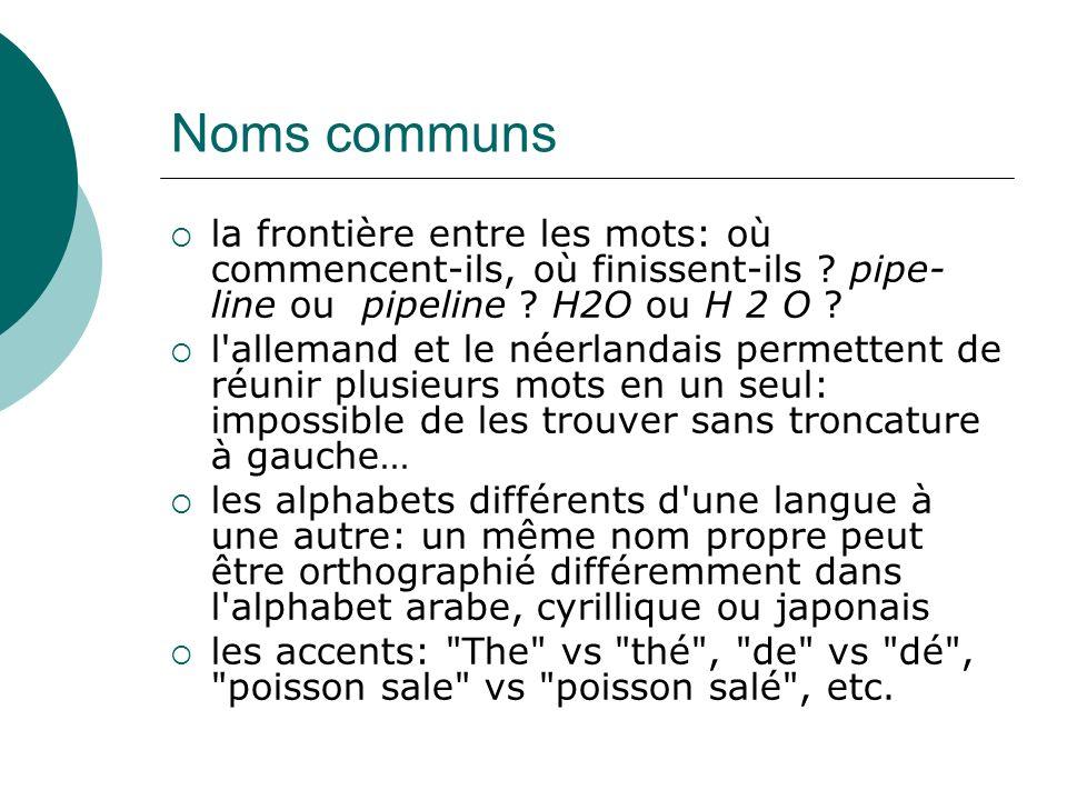 Noms communs la frontière entre les mots: où commencent-ils, où finissent-ils ? pipe- line ou pipeline ? H2O ou H 2 O ? l'allemand et le néerlandais p