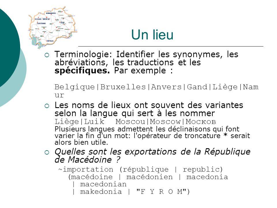 Un lieu Terminologie: Identifier les synonymes, les abréviations, les traductions et les spécifiques. Par exemple : Belgique|Bruxelles|Anvers|Gand|Liè