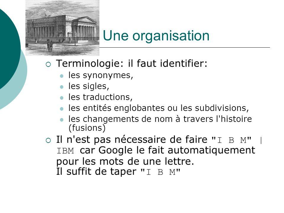 Une organisation Terminologie: il faut identifier: les synonymes, les sigles, les traductions, les entités englobantes ou les subdivisions, les change