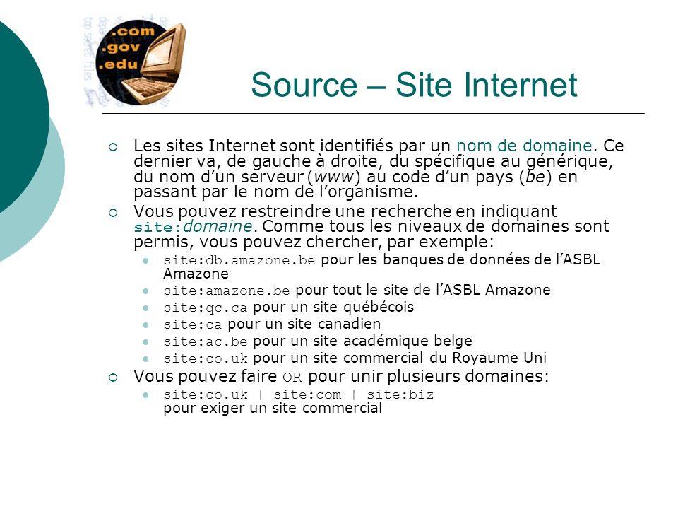 Source – Site Internet Les sites Internet sont identifiés par un nom de domaine. Ce dernier va, de gauche à droite, du spécifique au générique, du nom