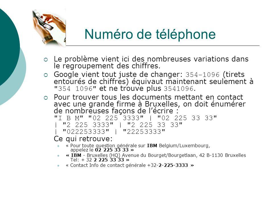 Numéro de téléphone Le problème vient ici des nombreuses variations dans le regroupement des chiffres. Google vient tout juste de changer: 354-1096 (t