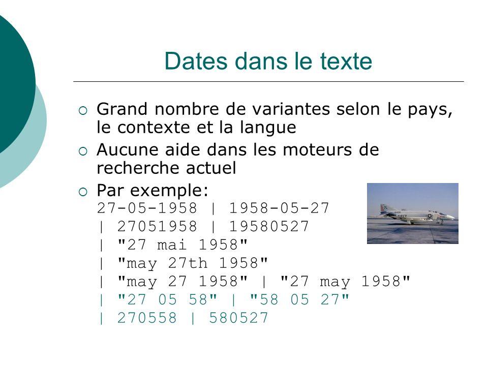 Dates dans le texte Grand nombre de variantes selon le pays, le contexte et la langue Aucune aide dans les moteurs de recherche actuel Par exemple: 27
