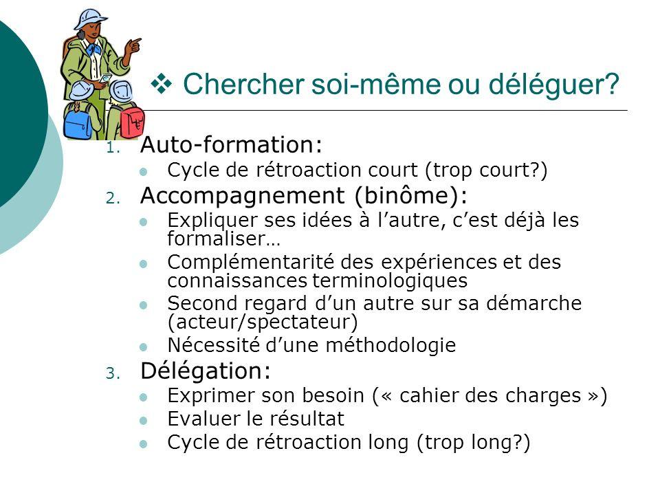 Chercher soi-même ou déléguer? 1. Auto-formation: Cycle de rétroaction court (trop court?) 2. Accompagnement (binôme): Expliquer ses idées à lautre, c
