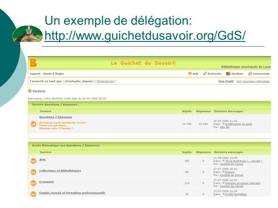 Un exemple de délégation: http://www.guichetdusavoir.org/GdS/ http://www.guichetdusavoir.org/GdS/